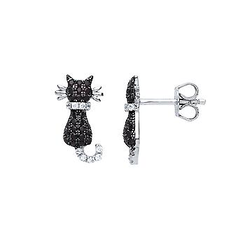 Jewelco London Ladies Rhodium Plaqué Sterling Silver Black Round Brilliant Cubic Zirconia Kitty Kitty Cat Stud Boucles d'oreilles