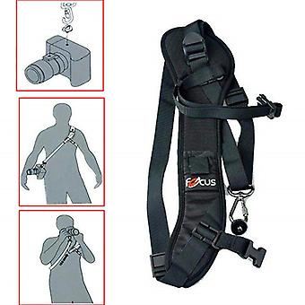 Camera strap with safety binding for e.g. Canon and Nikon
