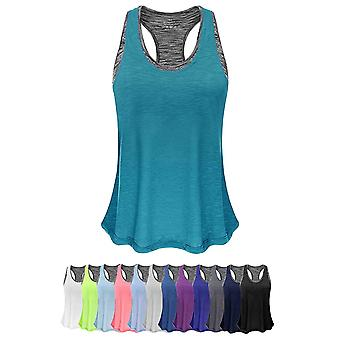 Women Tank Top with, Turquoise&gray Bra, Size L(LABEL size is 1 size up, M i