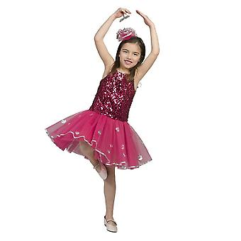 Pailettenkleid Kinderkostüm pink Tänzerin Ballet Tutu Rock Lady Kostüm Mädchen Star