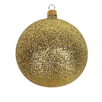 9cm Gold Glitter Christmas Tree Bauble Ornament