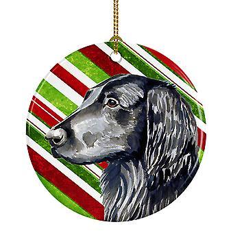 Plana recubierta Retriever Candy Cane vacaciones Navidad adorno cerámica LH9231