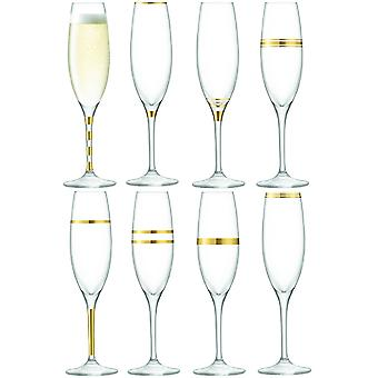LSA International Deco Assorted Champagne Flutes - Set Of 8 - Gold