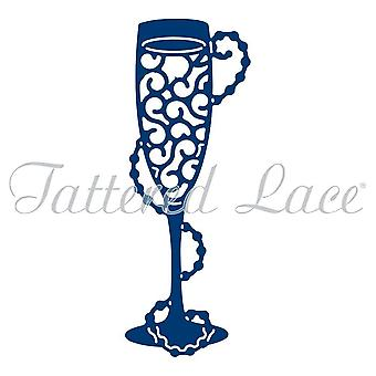 Tattered lace metal CUTTING Die Champagne pearls flute glass D1200