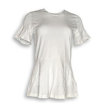 Isaac Mizrahi Live! Vrouwen ' s top XXS brei peplo's top w/korte witte A303170