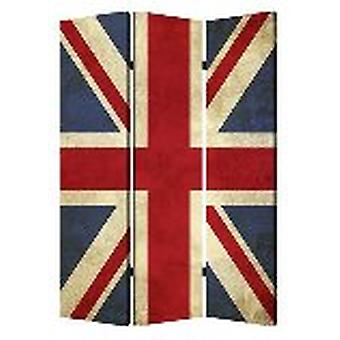 "1"" x 48"" x 72"" Multi Color Wood Canvas Union Jack  Screen"