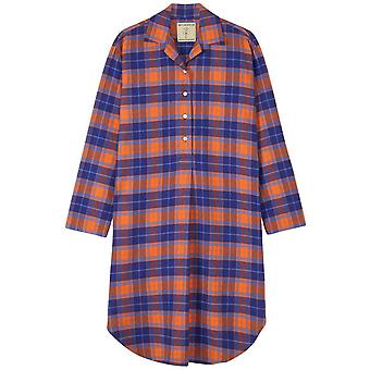 British Boxers Tangerine Dream Due Pieghe Flannel Nightshirt - Arancione / Blu