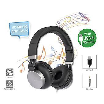 4smarts stereo headset headphone earpiece e one earbud-style headphones with USB type C & 3.5 mm black