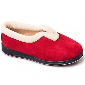 Padders Carmen Ladies Microsuede Extra Wide (2e) Full Slippers Red