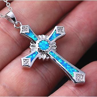 Opal Farbe Aussage Kreuz Halskette