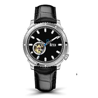 Reign Bauer Semi-SkeletonLeather-Band Watch- Silver/Black