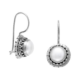 Handmade Oxidized 925 Sterling Silver Wire Earrings 7mm Cultured Freshwater Pearl Dot Edge Drops 20mm Jewelry Gifts for