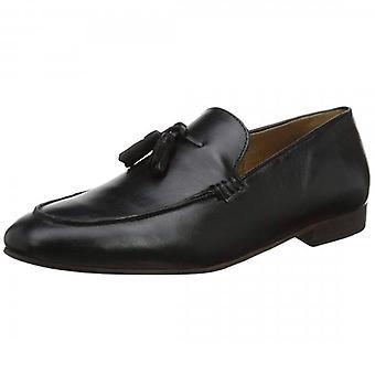 Hudson Bolton Black Leather Slip On Tassle Loafer Shoes