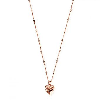 ChloBo Rose Gold Bobble Chain Patterned Heart Necklace