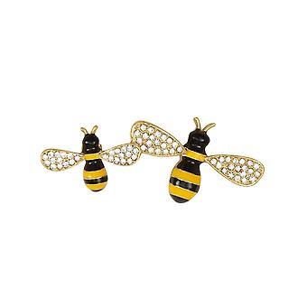 Eternal Collection Bee Happy Diamante And Enamel Honey Bee Gold Tone Brooch