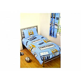 Manchester City FC Official Football Patch Single Duvet And Pillow Set