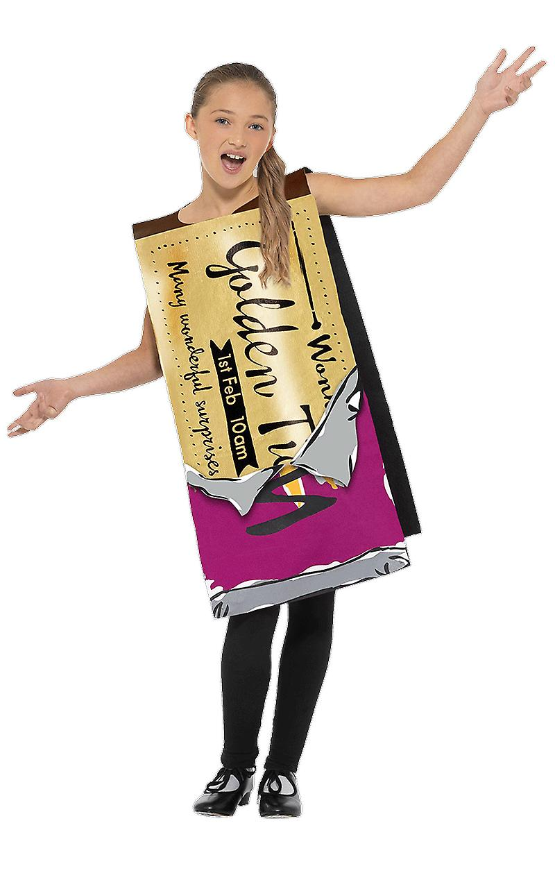 Kids Winning Willy Wonka Bar Golden Ticket Fancy Dress Costume