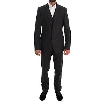 Dolce & Gabbana Gray Striped Two Button Martini 3 Piece Suit