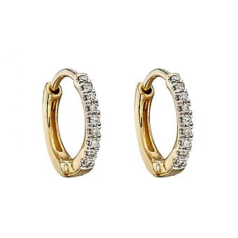 Elements Gold 9ct Yellow Gold Small Diamond Huggies 10mm Earrings GE2320