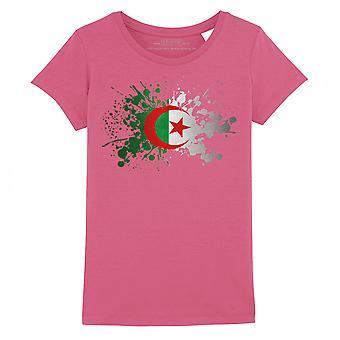 STUFF4 Girl's Round Neck T-Shirt/Algeria/Algerian Flag Splat/Dark Pink