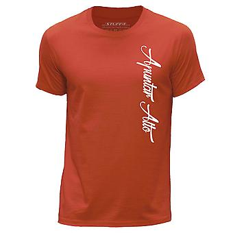 STUFF4 Men's Round Neck T-Shirt/Hipster Fashion / Apuntar Alto/Orange