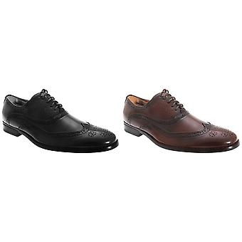 Goor Mens Leather Lace-Up Oxford Brogue Shoes