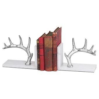 Hill Interiors Nickel Antler And Marble Bookend (Pack Of 2)