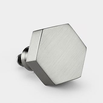 Brass Door Knob - Silver - Hexagon