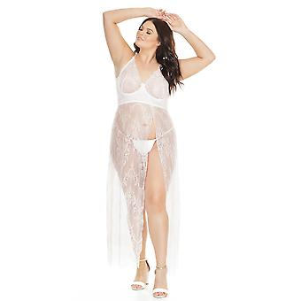 Womens Lace Long Gown Full Underwire Cups With Side High Slit White 1x/2x