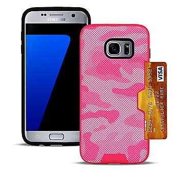 Couverture dure pour Samsung Galaxy S7 Camouflage Design Hard-Plastic Outdoor Hybrid Pink