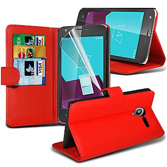 i-Tronixs Vodafone Smart Ultra 7 PU Leather Wallet Classic Flip Case + Screen Protector Guard -Red