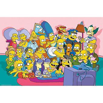 Simpsons Sofa Cast Maxi Affiche