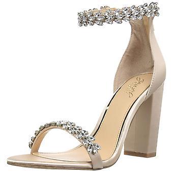 Badgley Mischka Jewel Women-apos;s Mayra Heeled Sandal, Champagne Satin, 6,5 M US