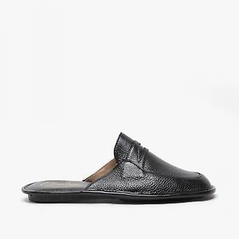 Chaleur Marco Mens Milled Leather Mules Black