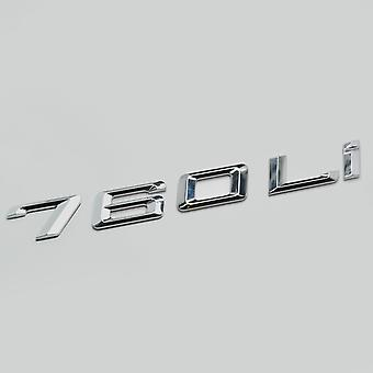 Silver Chrome 760Li Car Model Rear Boot Number Letter Sticker Decal Badge Emblem For 7 Series