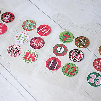 Advent Calendar Stickers Numbers 1 - 24 Create Your Own Advent Calendar Red Gold