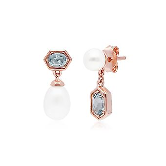 Modern Pearl & Aquamarine Mismatched Drop Earrings in Rose Gold Plated Sterling Silver 270E030404925