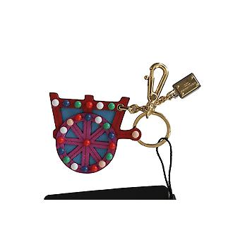 Dolce & Gabbana Leather Sicilian Cart Wheel Gold Logo Keychain Keyring