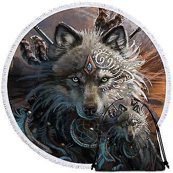 Native artwork Wolf strandlaken
