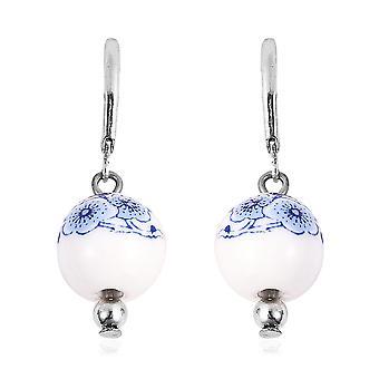 Drop Bungelen Floral Ceramic Oorbellen voor vrouwen, 15.8 Ct TJC