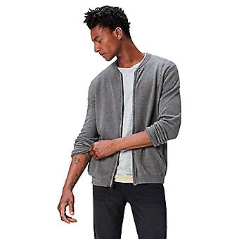find. Men's Cotton Cardigan Sweater in Bomber Jacket Style, (Charcoal Grey Ma...
