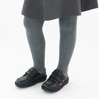 Kickers Kick Lo Kids Leather Velcro Shoes Black