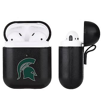 Michigan State Spartans NCAA Fan Brander Zwart Lederen AirPod Geval