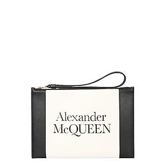 Alexander Mcqueen 6330631x3h09050 Damen's Weiß/schwarz Leder Clutch