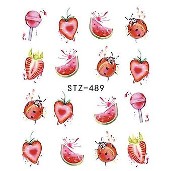 1pcs Strawberry Summer Fruit Drinking Stickers For Nails Manucure, Nail Art