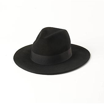 Hatt med dekorativt band, ull - Svart