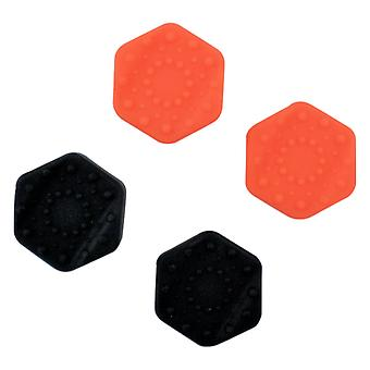 Hexagon thumbstick grip caps for sony ps4 controller non slip extended heavy duty silicone - 4 pack black & orange | zedlabz