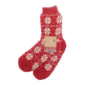 Country Club Nordic Slipper Socks, Red