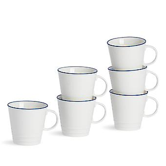 Nicola Spring 6 Piece Country Farmhouse White Espresso Cup Set with Blue Rims - 90ml