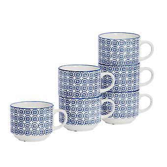 Nicola Spring 6 Piece Hand-Printed Stacking Teacup Set - Japanese Style Porcelain Coffee Cups - Navy - 260ml